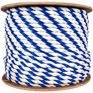 "1 / 4"" Pool Rope - Per Foot, Blue-White Twisted"