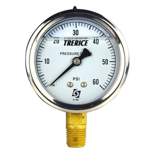 "Trerice Liquid Filled Pressure Gauge, 2.5"", 0 to 60 PSI"