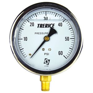 "Trerice Liquid Filled Pressure Gauge, 4"", 0 to 60 PSI"