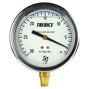 "Trerice Liquid Filled Vacuum Gauge, 4"", 30"" to 0 Hg"
