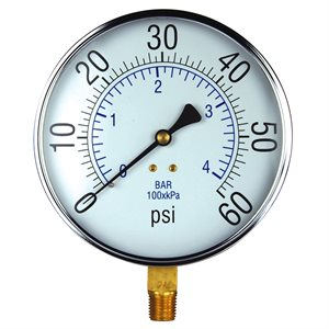 Pressure Gauge Steel Case 4.5""