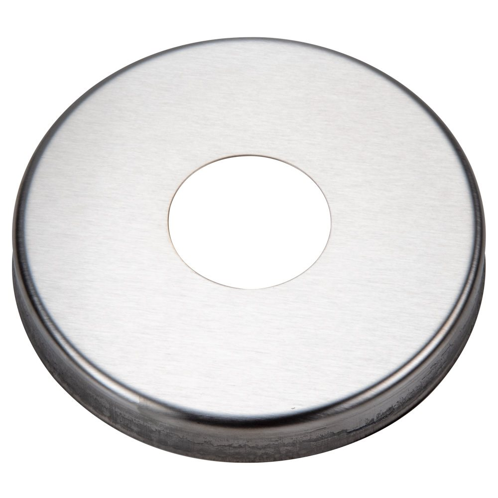 Escutcheon plate round stainless for quot rail