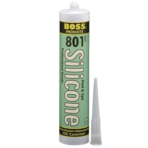 BOSS 801 Pool & Spa Silicone Adhesive, 10.3 oz. Cartridge, Clear