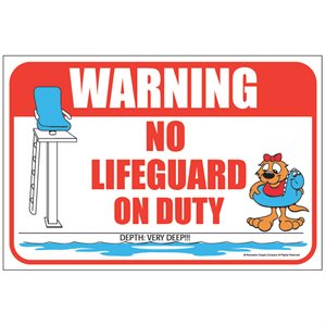 "Sign - No Lifeguard on Duty 12"" x 18"""