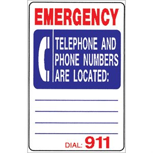"Sign - Emergency Telephone Numbers 12"" x 18"""