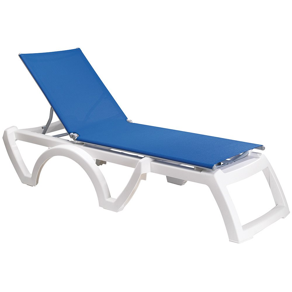 Calypso sling chaise white frame royal blue sling case of 2 for Blue sling chaise lounge