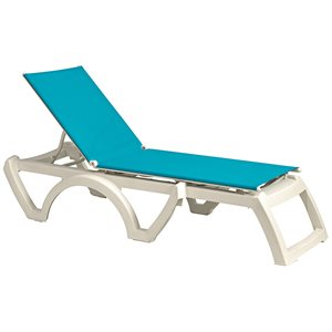 Calypso Sling Chaise, White Frame, Turquoise Sling, Case of 16