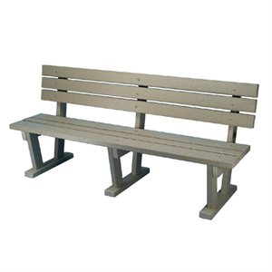 Bench, Plastic, With Backrest, 6 FT.