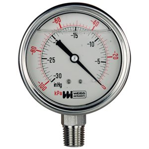 Weiss Liquid Filled Vacuum Gauge 2.5""