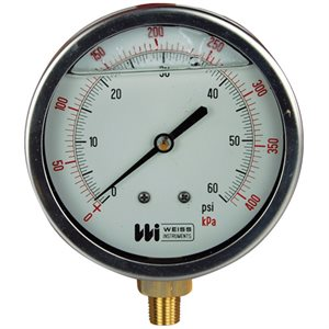 Weiss Liquid Filled Pressure Gauge 4""