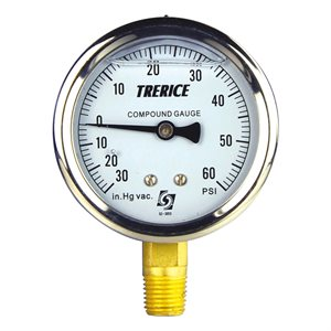"Trerice Liquid Filled Compound Gauge, 2.5"", 30"" Hg to 60 PSI"