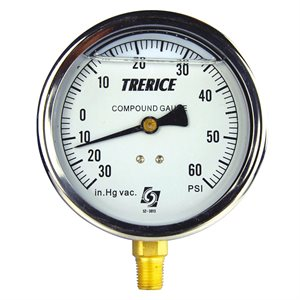 "Trerice Liquid Filled Compound Gauge, 4"", 30"" Hg to 60 PSI"