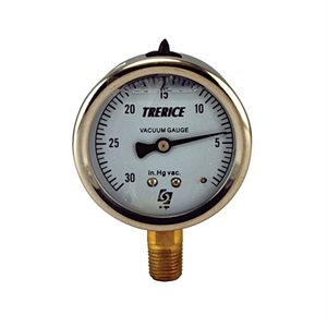 "Trerice Liquid Filled Vacuum Gauge, 2.5"", 30"" to 0 Hg"