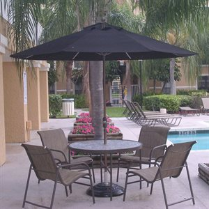 Fiberbuilt Fiberglass Ribbed Market Umbrella, 9', Pulley & Pin Style