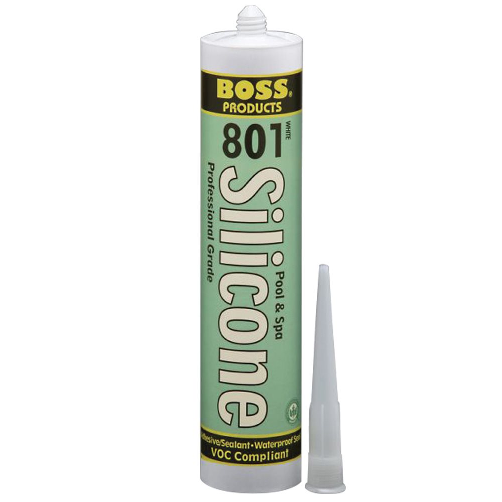 BOSS 801 Pool & Spa Silicone Adhesive, 10.3 oz. Cartridge, White