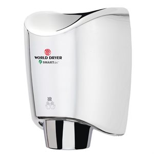 World Dryer SmartDri Hand Dryer, Bright Stainless Steel