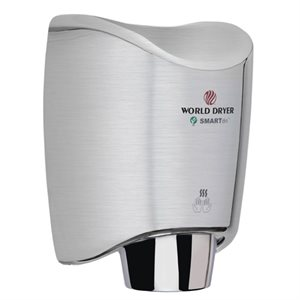 World Dryer SmartDri Hand Dryer, Brushed Chrome Aluminum