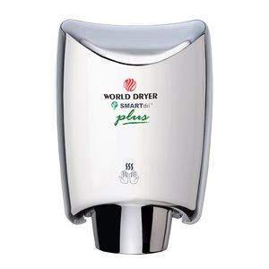 World Dryer SmartDri PLUS Hand Dryer, Bright Stainless Steel