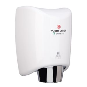World Dryer SmartDri Hand Dryer, White Aluminum