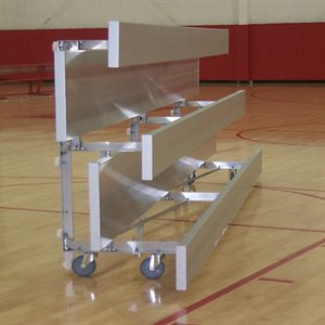 All-Anodized Tip N' Roll Bleachers, 15 ft., 2 Rows (Seats 20)