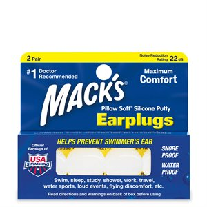 Mack's Silicone Earplugs, White, 2 pair