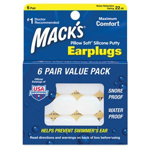 Mack's Silicone Earplugs, White, 6 pair