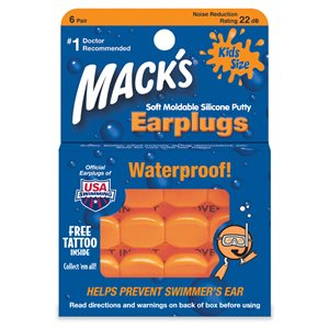 Mack's Silicone Earplugs, Orange, Kids Size, 6 pair