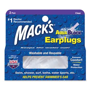 Mack's AquaBlock Earplugs, Clear