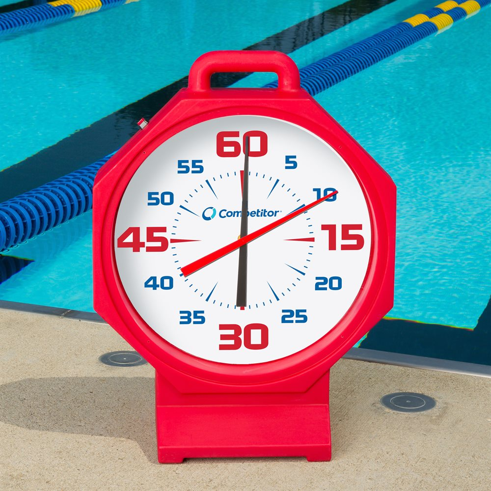Competitor 15 Inch Pace Clock Battery Operated Red White