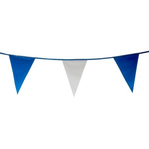 "Standard 12"" x 18"" Pennants, 100 ft., Blue / White"