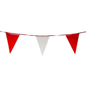 "Standard 12"" x 18"" Pennants, 100 ft., Red / White"