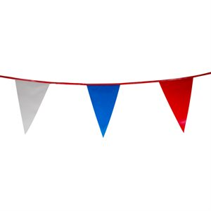 "Standard 12"" x 18"" Pennants, 100 ft., Red / White / Blue"