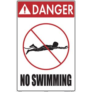 "Sign - Danger No Swimming 12"" x 18"""