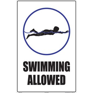 "Sign - Swimming Allowed 12"" x 18"""
