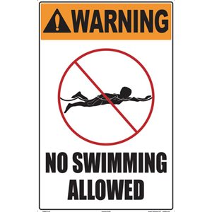 "Sign - Warning No Swimming Allowed 12"" x 18"""