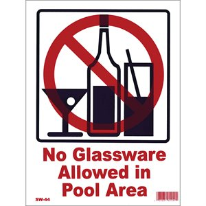 "Sign - No Glassware 9"" x 12"""