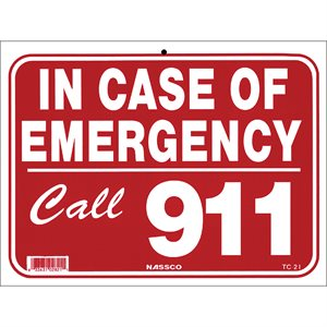 "Sign - In Case of Emergency 9"" x 12"""