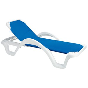 Catalina Adjustable Sling Chaise, White / Royal Blue, Case of 14
