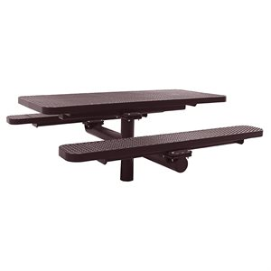 Premier Polysteel 6 ft Rectangular Table, Single Pedestal, Direct Bury, without Umbrella Hole
