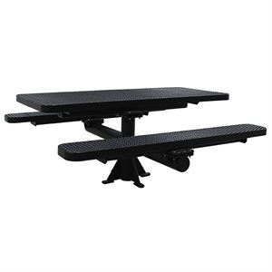 Premier Polysteel 6 ft Rectangular Table, Single Pedestal, Surface Mount, without Umbrella Hole