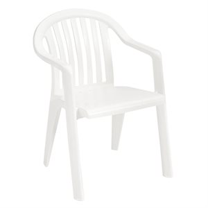 Stackable Chair, Miami Low Back, White, Case of 16