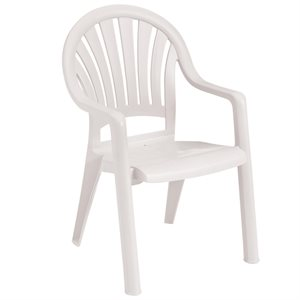 Stackable Chair, Pacific High Back, White, Case of 16