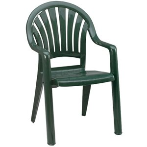 Stackable Chair, Pacific High Back, Amazon Green, Case of 16