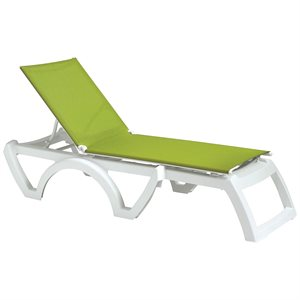 Calypso Sling Chaise, White Frame, Fern Green Sling, Case of 16