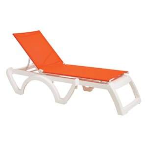 Calypso Sling Chaise, White Frame, Orange Sling, Case of 16