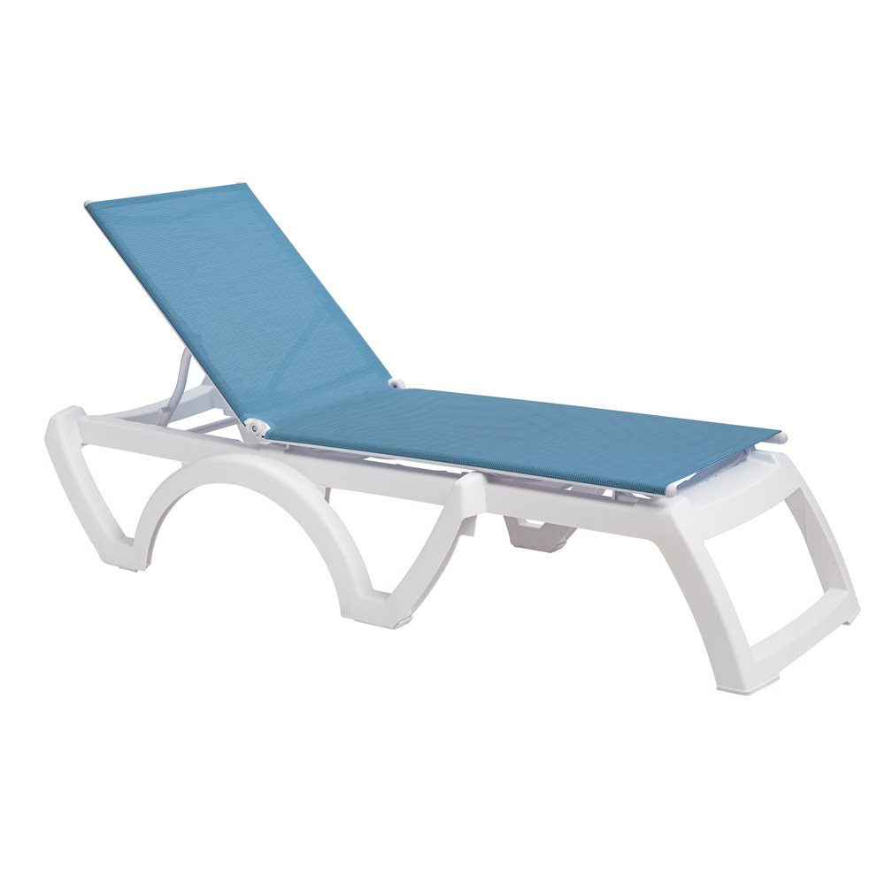 Calypso sling chaise white frame sky blue sling case of 16 for Blue sling chaise lounge