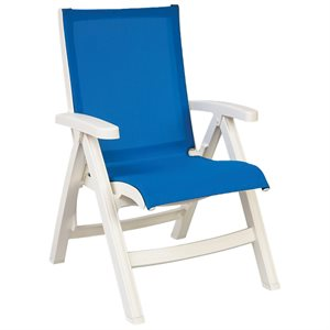 Jamaica Beach Midback Folding Sling Chair, White Frame, Blue, Case of 2