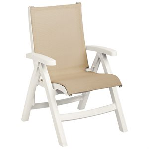 Jamaica Beach Midback Folding Sling Chair, White Frame, Khaki Case of 2