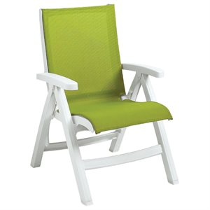 Jamaica Beach Midback Folding Sling Chair, White Frame, Fern Green Case of 2