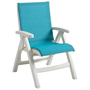 Jamaica Beach Midback Folding Sling Chair, White Frame, Turquoise Case of 2